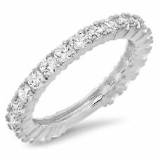1.1ct Pave set Promise Bridal Wedding Engagement Band In Solid 14k White Gold