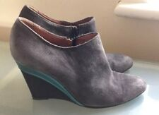 MarcCain Ladies Boots 5 38 Grey High Heel Wedge Ankle Boot Soft Suede Work