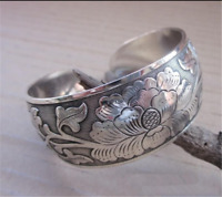 Ethnic Tibetan Silver Peony Totem Carved Bangle Cuff  Wide Bracelet Jewelry Gift