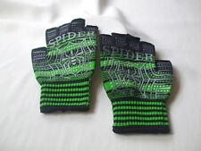Unisex Halloween Theme Fingerless Gloves Spider Written Across Fingers Green New
