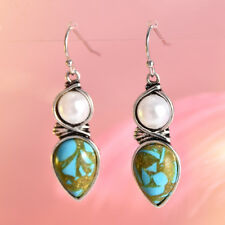 Vintage Women Silver Pearl Natural Turquoise Stone Drop Dangle Hook Earrings New