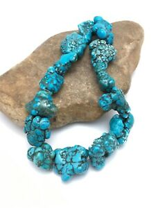 "Sale Beautiful Turquoise Nugget Free Form Bead Strand Set 16"" 3153 Gift"