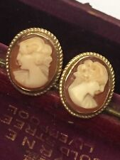 Antique Hallmarked 9ct Yellow Gold Carved Shell Cameo Earrings