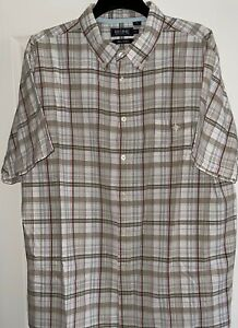 'Maine New England' Gents Brown White Red Check B-P S/S Shirt, XXXL, Used Ex Con