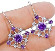 4CT Amethyst & Topaz 925 Solid Sterling Silver Earrings Jewelry