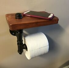 Rustic Toilet Paper Holder With Shelf Reclaimed Wood Industrial Pipe