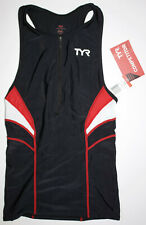 Tyr Men's Small Black Red Singlet Tank Triathlon Run Jog Front Zip Usa Made New