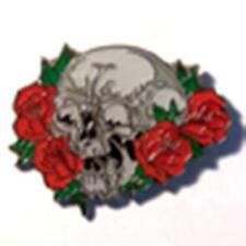 SKULL ROSES HAT OR JACKET PIN pin502 new jacket lapel metal skull rose flower