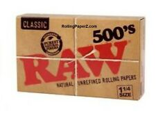 New RAW 500's 1 1/4 Size Cigarette Rolling Papers - 500 leaves per flat pack -