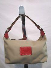Coach Hampton Small Beige Tan Nylon Orange Leather Baguette Handbag