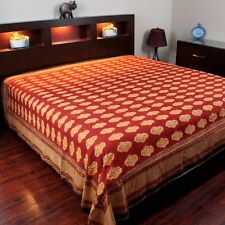 Hand Block Print Bedspread Coverlet Tapestry Rust Brown Twin 70 x 108 inches