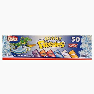 KISKO KIDS GIANT FREEZIES 50 Pack Freeze Pops 6 Flavors NEW SEALED