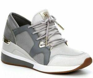 Michael Kors Liv Trainer Fashion Sneakers Aluminum Size 5.5