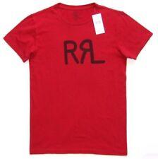 Homme RALPH LAUREN RRL Logo Double RL T-shirt Tee Ajustée Rouge Foncé Petite RRP £ 70