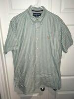 Polo Ralph Lauren Men Short Sleeve Button Down Dress Shirt Green Striped L