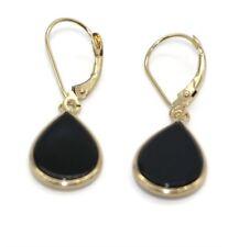 Onyx Black Pear Hanging Earrings set in 14K Yellow Gold,Leverbacks