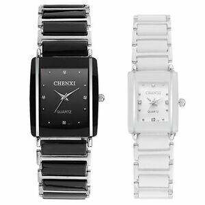 Mens Womens Stainless Steel Crystal Accented Ceramic Bracelet Watch White Black