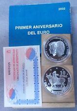 Año 2003. 10 EUROS DE PLATA. ESPAÑA. Primer Aniversario del Euro.