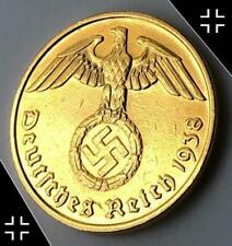 1 Pc WWII German Reich 1937-1939 10 Rpf Brass coin Nice shape XF