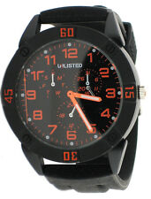 Unlisted by Kenneth Cole 10019288 Black Dial Silicone Strap Men's Quartz Watch