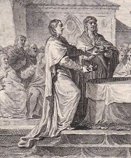 Gravure XVIIIe Dernières Dispositions de Pépin le Bref Cassées par la Nation 768