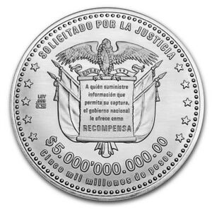 WANTED POSTER PABLO ESCOBAR 999 SILVER ROUND LIMITED EDITION