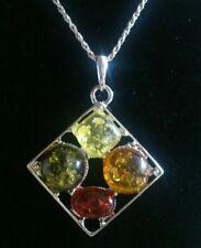 UK SELLER.Multitone Baltic Amber Modern pendant & chain anti allergy.NEW