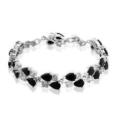 "MODOU Pear & Round Cut White & Black Sapphire Women Wedding Tennis Bracelet 7.9"""