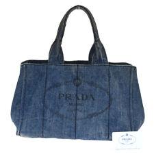 Authentic PRADA MILANO Canapa Tote Hand Bag Denim Leather Blue Turkey 05BM534