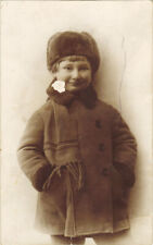 1960's Soviet photo Russian boy in winter coat, warm hat and scarf