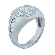 14K White Gold Diamond Mens Ring 1.35ct  Size 10  10.25 Grams  SOLID
