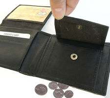 BLACK FLAP TOP 9 ID CARD COIN NEN's LEATHER BIFOLD WALLET PLAIN FRONT POCKET