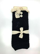 NWT Lace Boot Cuff Liner Knit Cotton Black Leg Warmers One Size