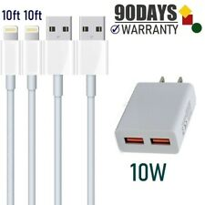 10W Double USB Wall Charger Cube + (2) 10ft USB Cable for iPad Mini 4,Air,5th{10