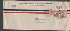 Colombia Sep 1940 WWII no censor cover Constructora Carreteras Cartagena to NY