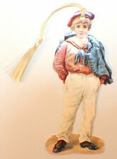 Victorian Paper Bookmark Little Sailor Boy With String Tassel Gift Tag #Bk-01