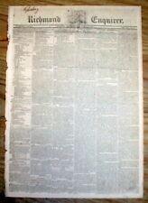 Rare original 1820 Richmond VIRGINIA newspaper with a RUNAWAY SLAVE REWARD AD