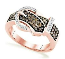 Diamond Belt Buckle Ring 10K Rose Gold Chocolate Brown & White Diamonds .50ct