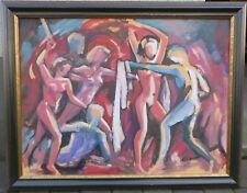 Walter Pils 1919 - 2008 Karlsruhe Gemälde Expressive Darstellung Akt Mann & Frau