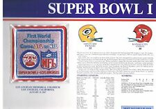 Super Bowl I Green Bay Packers Kansas City Chiefs Willabee & Ward Jersey Patch