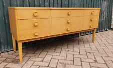 Retro Mid Century light OAK sideboard TV MEDIA STAND Danish style 6 drawer
