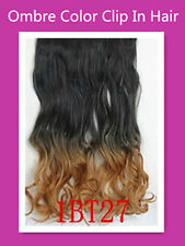 2 Tone Curly Ombre Clip In Hair Piece Hair Extensions Dark Brown--Sandy Blonde