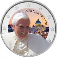 2 Euro Gedenkmünze mit Papst Benedikt coloriert / Farbe / Farbmünze / Vatikan