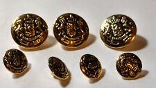 """7  Metal Buttons """"SKAINIEND"""" Lion & Crown Crest"""