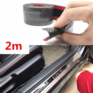 10cm Carbon Style Scuff Plate Door Sill Cover Car Threshold Step Bumper Guard 2m