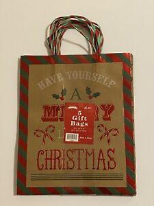"""5 Christmas Kraft Gift Bags with Handles 10""""x12""""x4"""""""