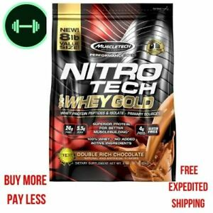 Muscletech Nitro Tech 100% Whey Gold Whey Protein Powder  Rich Chocolate 8 LBS