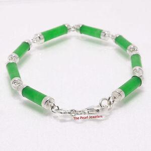 Eight Segment Cylinder Green Jade Bracelet w/ 925 Sterling Silver Links - TPJ