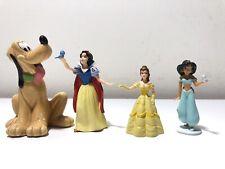 Lot Of 4 Disney Mini figurine Toys Pluto Belle Princess Jasmine Snow White