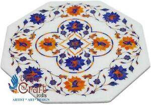 Marble White Coffee Restaurant Table Top Lapis Inlaid Pietradura Floral Décor
